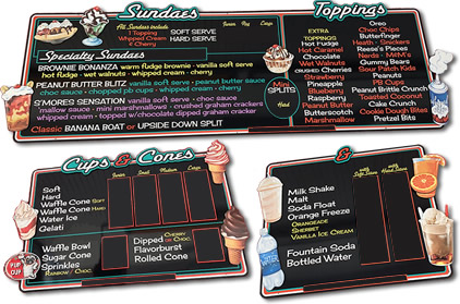 TK's Ice Cream Menu Boards